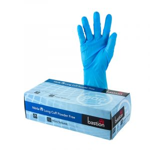 Bastion Blue Nitrile Gloves with long cuff. BAS-GNC-PFB