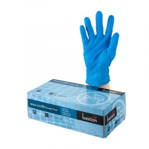 Nitrile Soft Blue Bastion Gloves. BAS-GNS-PFB